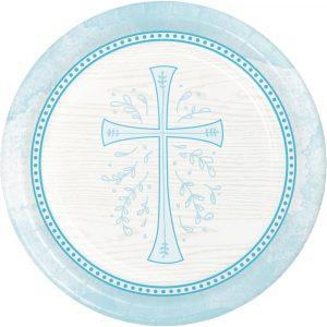 blue religious paper plates