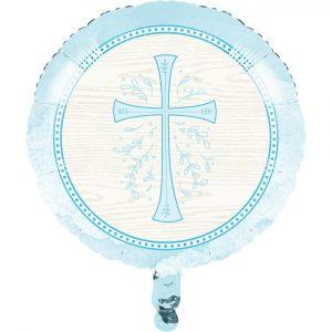 religious metallic balloon blue