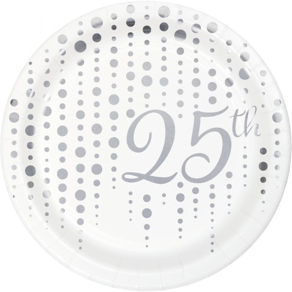 "Sparkle and Shine Silver ""25th"" 7"" Dessert Plates 96ct"