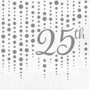 "Sparkle and Shine Silver ""25th"" Lunch Napkins 192ct"