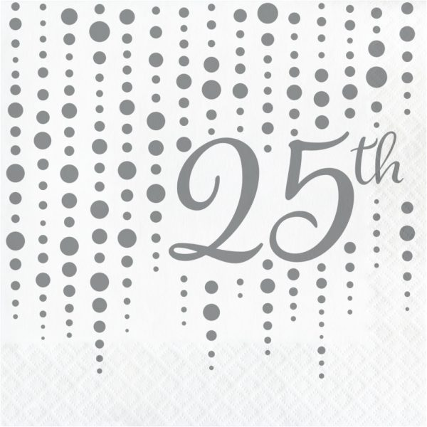 """Sparkle and Shine Silver """"25th"""" Lunch Napkins 192ct"""