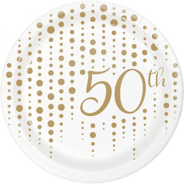 sparkle and shine 50th gold dessert plate