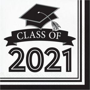 2021 white graduation napkins