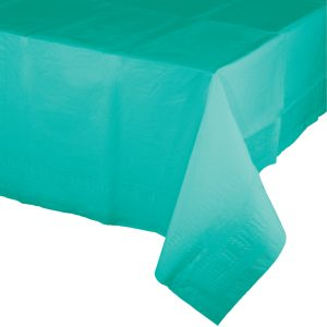 teal polylined rectangular tablecover