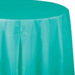 teal polylined round tablecover