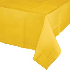 yellow polylined rectangular tablecover