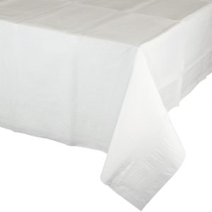 white polylined rectangular tablecover
