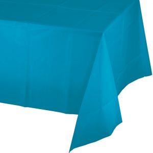 turquoise plastic rectangular tablecover