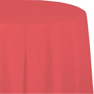 coral round polylined tablecover