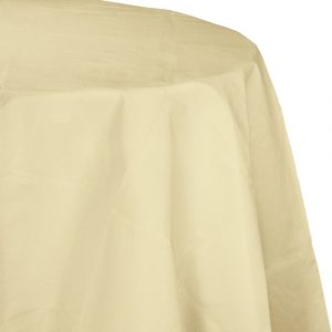 ivory round polylined tablecover