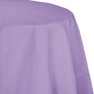 lavender round polylined tablecover