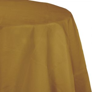round gold polylined tablecover